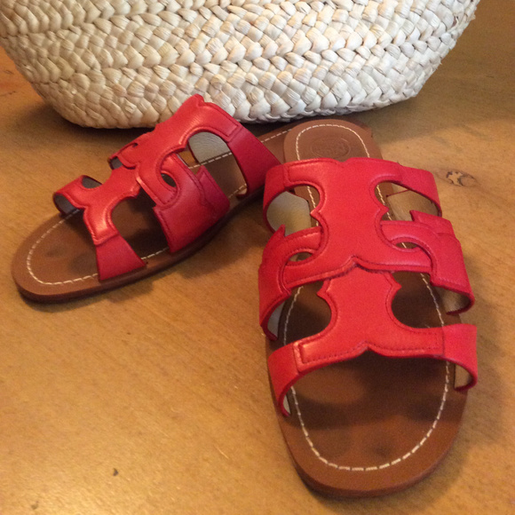 ae4d88448 Tory Burch Shoes | Anchor Masai Red Leather Slides Sandals | Poshmark